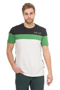 Футболка мужская черная с белыми и зелеными полосами и логотипом Harmont & Blaine