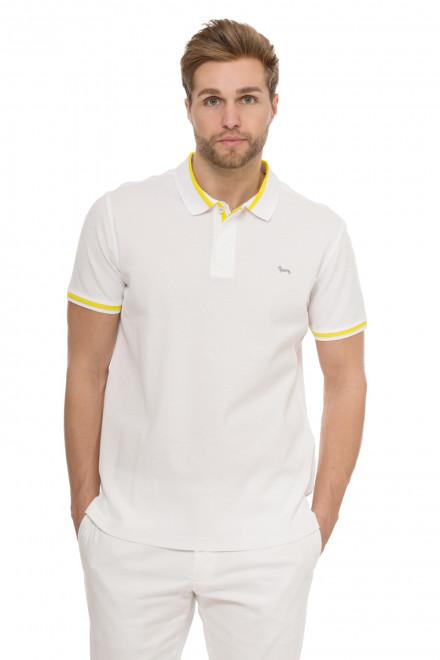 Футболка-поло мужская белая с желтой полосой Harmont & Blaine
