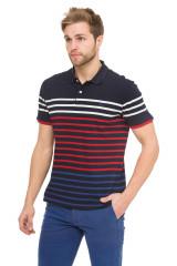 Футболка-поло мужская синяя в полоску красного белого и голубого цвета Harmont & Blaine