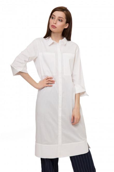 Платье женское белое с рукавом 3/4 миди прямого кроя с накладными карманами UNQ