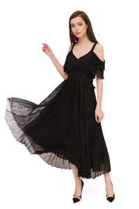 Платье женское миди черного цвета с открытыми плечами Sfizio