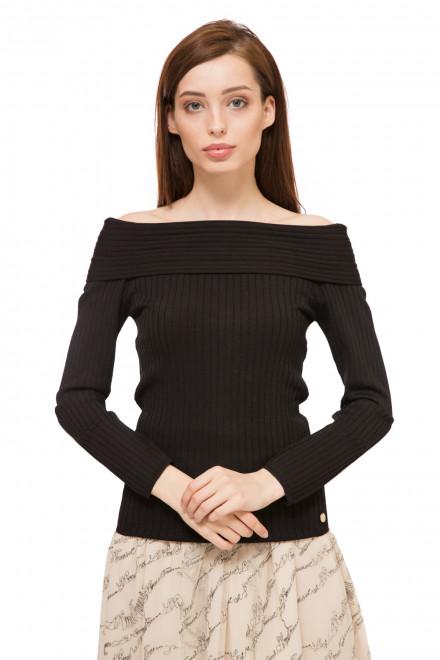 Пуловер женский черный с открытыми плечами и длинным рукавом Le Coeur