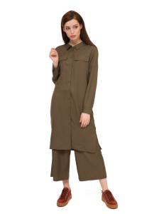 Платье женское с длинным рукавом прямое миди цвета хаки UNQ