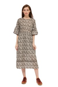 Платье женское миди  с флористическим принтом  и коротким рукавом  UNQ