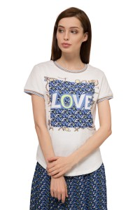 """Футболка женская с коротким рукавом и ярким принтом с надписью """"Love"""" белого цвета Rich & Royal"""