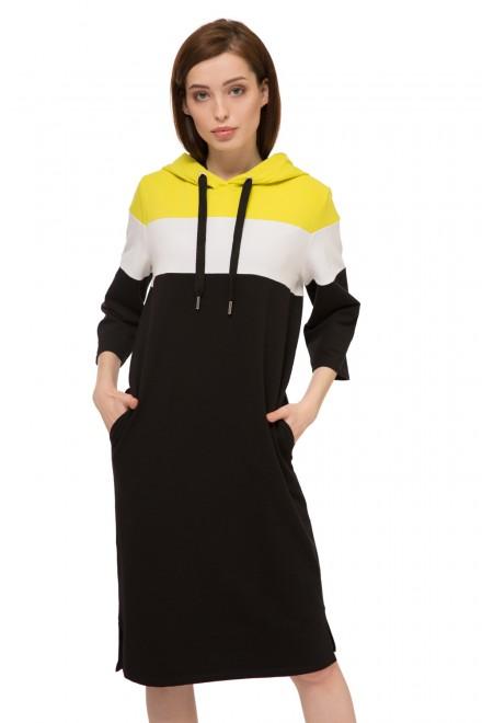Платье с капюшоном двухцветное UNQ