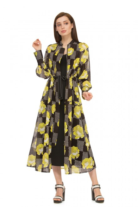 Платье  женское миди черного цвета  с принтом в желтые розы с длинным рукавом Beatrice