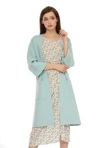 Кардиган женский пастельно-голубого цвета с длинным рукавом и накладными карманами Steffen Schraut