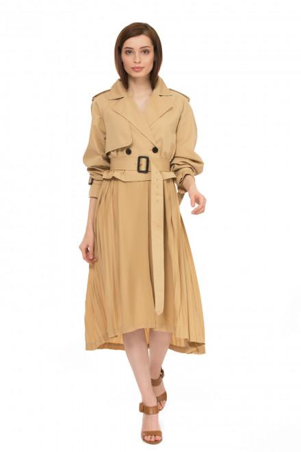 Платье плащ тренч женский  бежевый из тонкого материала с поясом Miss sixty