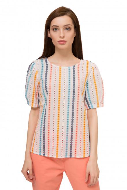 Блуза женская с коротким рукавом белая в яркую полоску UNQ