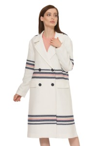 Пальто женское белое с декоративными полосками двубортное миди Steffen Schraut