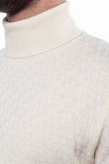 Белый мужской пуловер Ferrante с воротом гольф 3