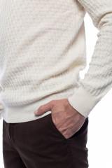 Белый мужской пуловер Ferrante с воротом гольф 5