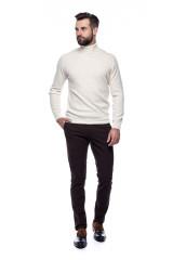 Белый мужской пуловер Ferrante с воротом гольф 6