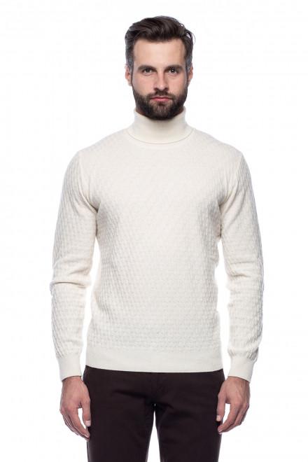 Белый мужской пуловер Ferrante с воротом гольф