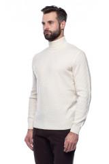 Белый мужской пуловер Ferrante с воротом гольф 1