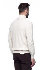 Белый мужской пуловер Ferrante с воротом гольф 2