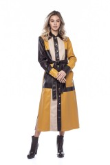 Платье-рубашка из экокожи color block Beatrice .b 1