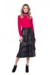 Черная юбка из экокожи с воланами Sfizio 6