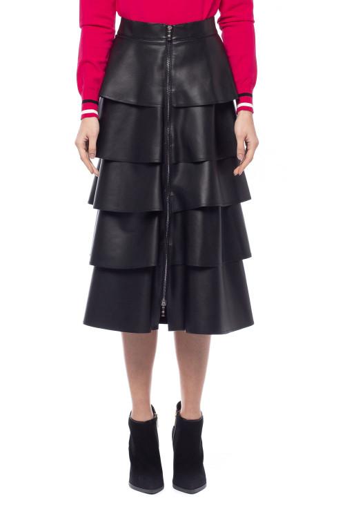 Черная юбка из экокожи с воланами Sfizio