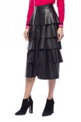 Черная юбка из экокожи с воланами Sfizio 1