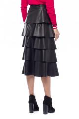 Черная юбка из экокожи с воланами Sfizio 2