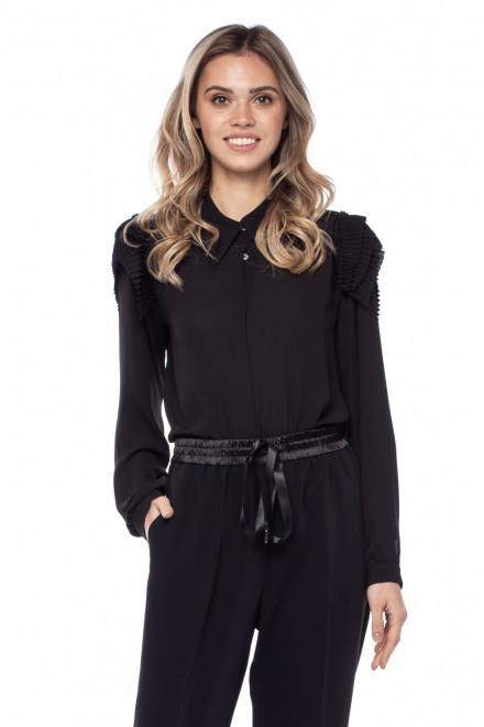 Чёрная женская рубашка с воланами Sfizio