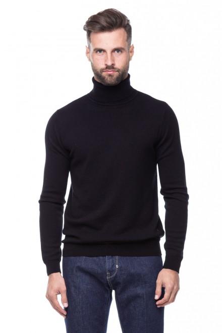 Пуловер мужской трикотажный с высокой горловиной черный Antony Morato