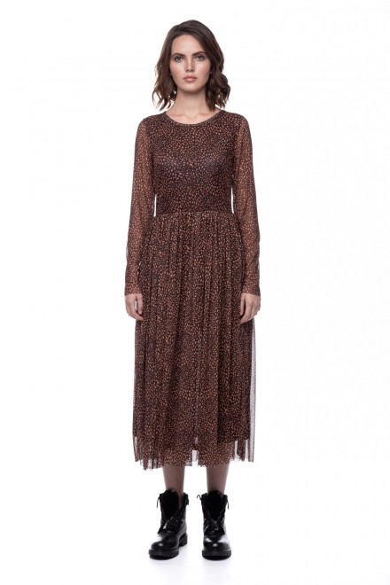 Коричневое платье с леопардовым принтом Rich & Royal