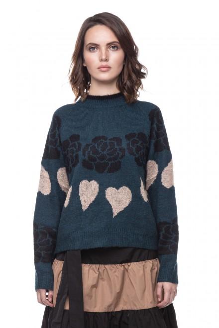 Пуловер свободного фасона с принтом Le Coeur