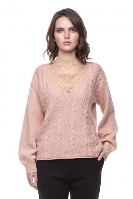 Женский свитер с кружевом Le Coeur