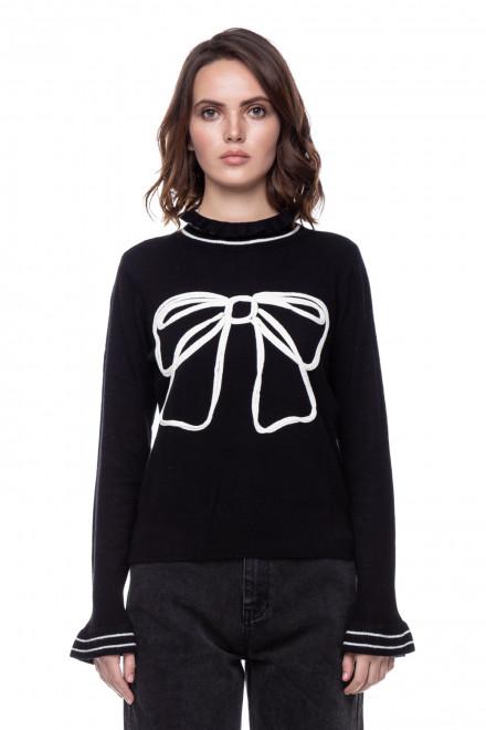 Черный пуловер с полосками и вышивкой Le Coeur