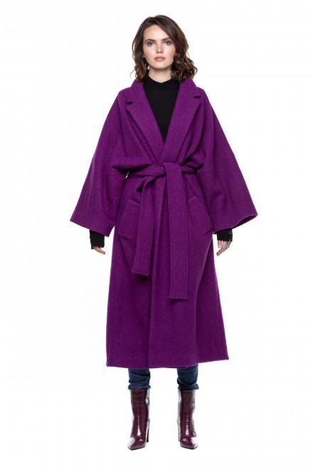 Шерстяное пальто с поясом и классическим воротником Iris Janvier