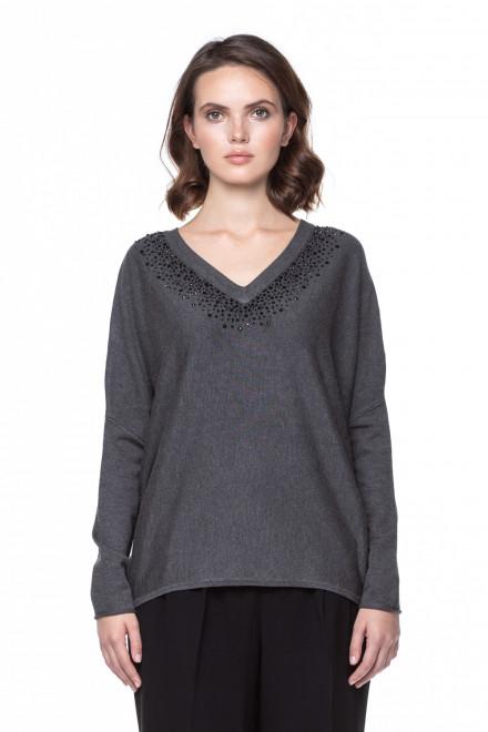 Серый пуловер с V-образным вырезом Steffen Schraut