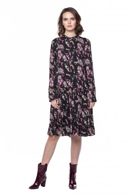 Платье черное во флоральный принт Steffen Schraut