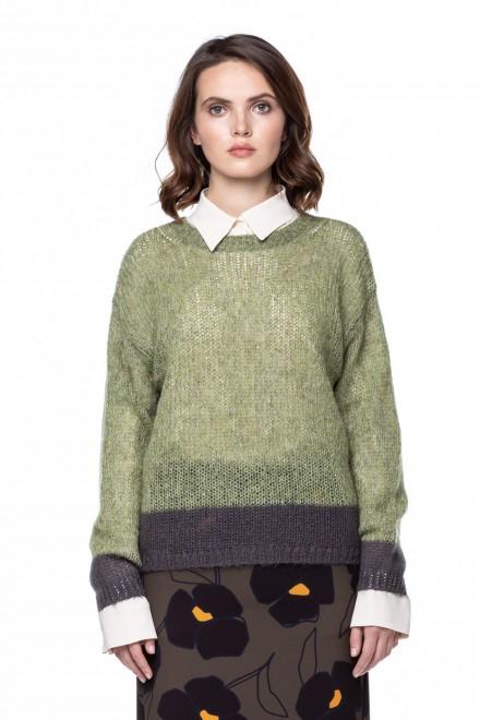 Пуловер женский крупной вязки зеленый Luisa Cerano