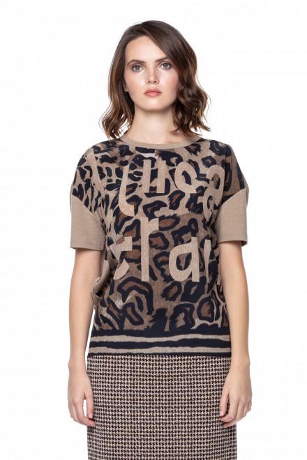 Блуза женская шелковая с коротким рукавом и анималистичным принтом Luisa Cerano
