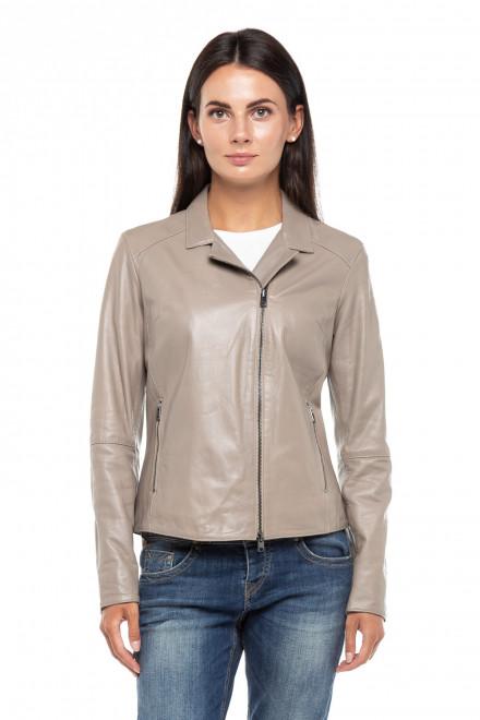 Куртка женская кожаная серая с косой молнией Oakwood
