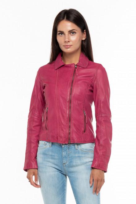 Куртка женская розовая кожаная Oakwood