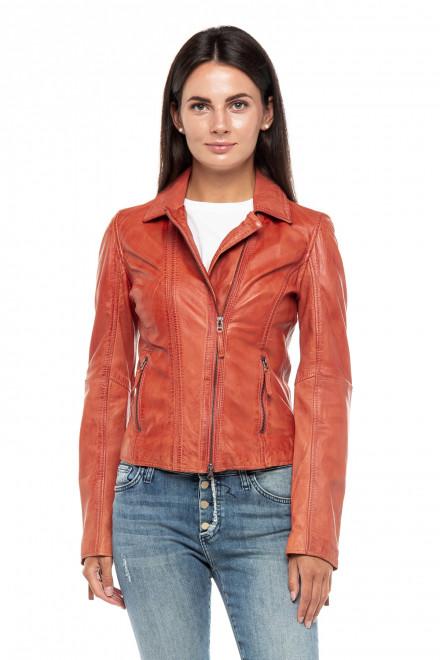 Куртка женская кожаная с карманами и длинными рукавами Oakwood