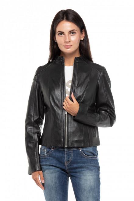 Куртка женская кожаная черная на молнии Oakwood
