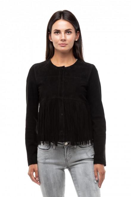 Куртка женская нубук черная с бахромой Oakwood