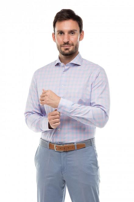 Рубашка мужская голубая клетчатая Van Laack