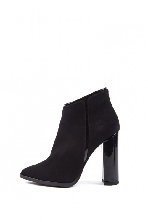Ботильоны женские черного цвета из замши с кожаными вставками на высоком каблуке Fabio di Luna
