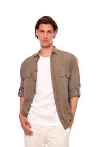Рубашка летняя коричневого цвета с длинным рукавом van Laack