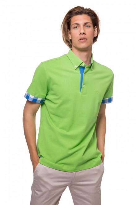 Футболка-поло мужская зеленого цвета с клетчатыми манжетами van Laack