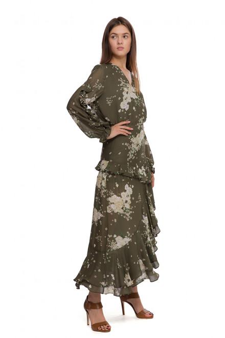 Юбка женская асимметричная с оборками зеленого цвета в цветочный принт Miss Sixty