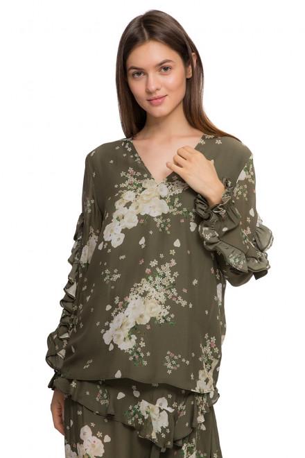 Блуза женская с длинным рукавом оливкового цвета Miss Sixty