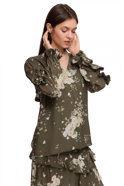 15bbae7f4b6 Блуза женская с длинным рукавом оливкового цвета Miss Sixty