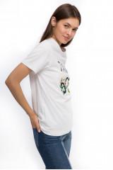 """Футболка женская белого цвета с надписью """"Ti amo 60""""  и объемными цветами Miss Sixty"""
